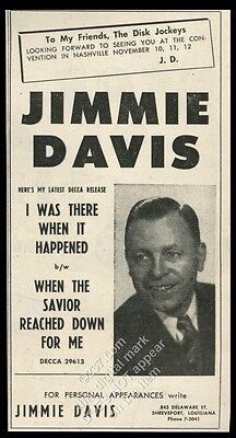 1955 Jimmie Davis photo vintage trade booking ad