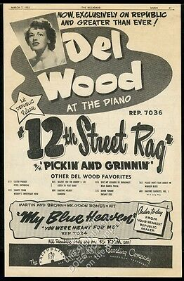 1956 Del Wood photo 12th Street Rag song release trade print ad
