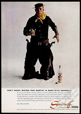1957 Buster Keaton photo Smirnoff Vodka vintage print ad