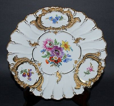 Vintage  Meissen Porcelain Plate Hand Painted Florals and Heavy Gold Gilding