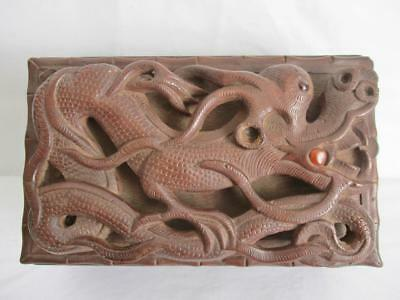 BEAUTIFUL VINTAGE ASIAN WOODEN BOX HEAVY CARVED DRAGONS ETC 210 x 130 x 75mm