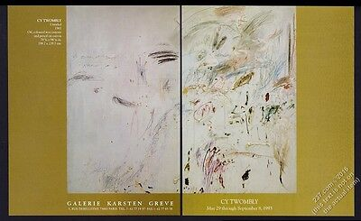 1993 Cy Twombly 1961 art Paris gallery show vintage print ad