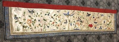 """Antique Chinese Qing Dynasty Hand Embroidery Panel Wall Hanging 19"""" By 78"""""""