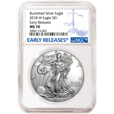 2018-W Burnished $1 American Silver Eagle NGC MS70 Blue ER Label