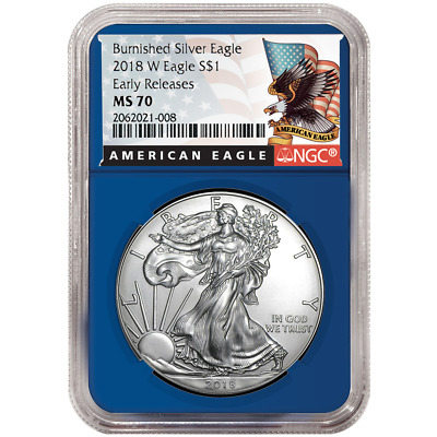 2018-W Burnished $1 American Silver Eagle NGC MS70 Black ER Label Blue Core