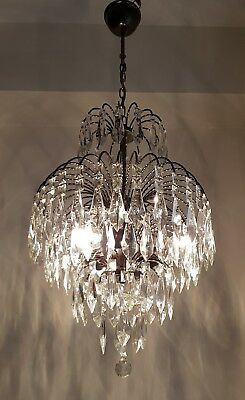 Vintage Waterfall Style Brass & Crystals Chandelier from 1970's