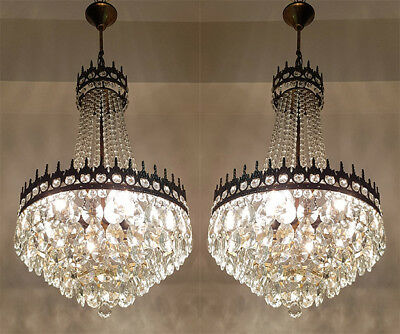 A Pair of Antique French Basket Style Brass & Crystals LARGE Chandeliers 1950's