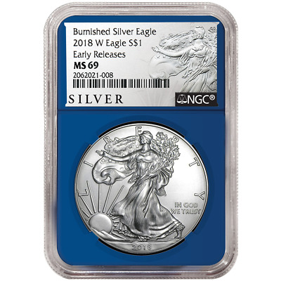 2018-W Burnished $1 American Silver Eagle NGC MS69 ALS ER Label Blue Core