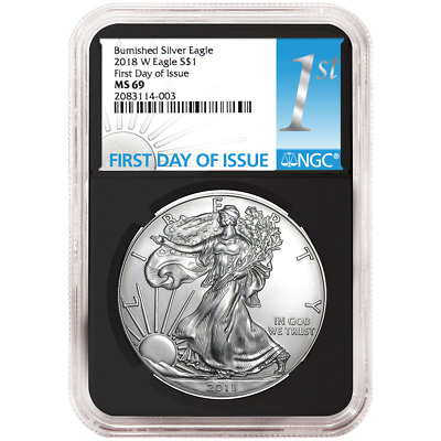 2018-W Burnished $1 American Silver Eagle NGC MS69 FDI First Label Retro Core