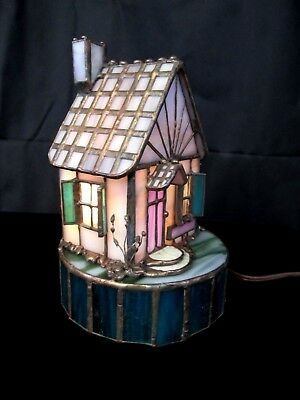 STAINED GLASS HOUSE BY Tartan Glass~Fairy House cottage~handmade~lights~leaded