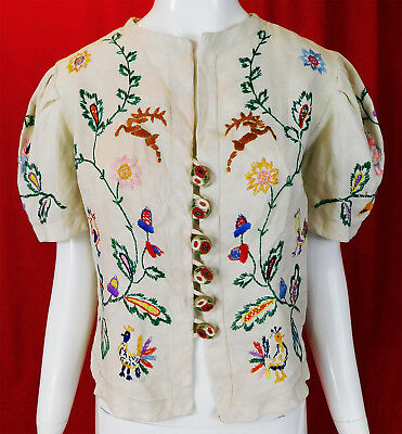 Vintage Colorful Hand Embroidered Austria White Linen Peplum Blouse Jacket Top