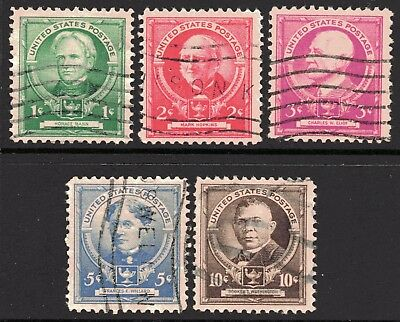 USA 1940 Famous Americans - Educationalists set of 5 Used