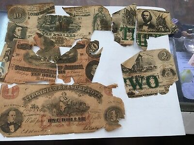 Obsolete & Confederate Currency ~ 4 Notes Total ~ Ugliest On Ebay ~ Pieces/parts