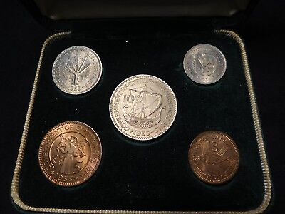 X7 Cyprus 1955 5 Coin Mint Set w/ Case