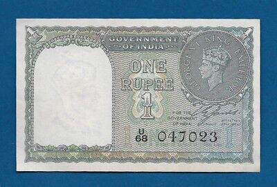 WW2 India British Administration 1 Rupee 1940 P-25a King George VI