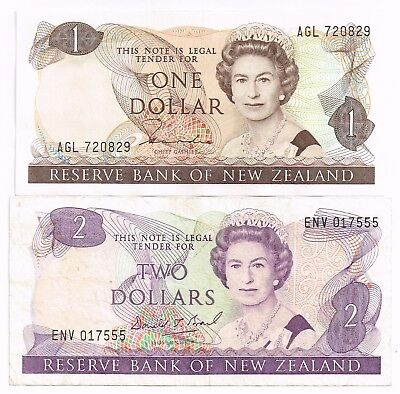 LOT OF TWO 1985-92 NEW ZEALAND ONE & TWO DOLLARS NOTES - p169b,170c