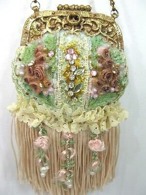 Victorian Style Purse Christmas Ornament w/ Fringe and Flowers Resin