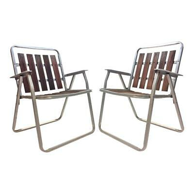 2 Vintage REDWOOD LAWN CHAIRS Aluminum Folding Pair Mid Century Metal Wood  Porch