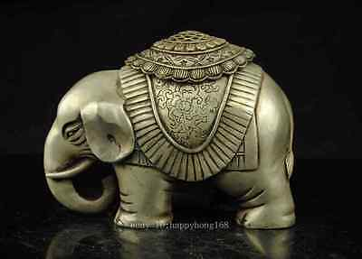 Allow Old China copper plating silver  Elephant Animal statue incense burner d02