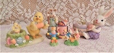 Lot Of 5 Cute Bunnies And Chickies Figurines, Scarecrow Bunny, Gardening Bunny