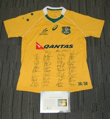 Australia Wallabies 2016 Team Hand Signed Rugby Union Official Jersey Coa