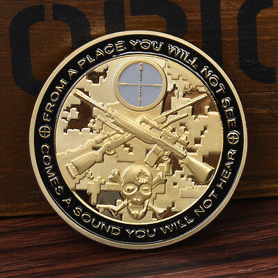 1pc Cool Sniper Gold Commemorative Coin Collection NEW