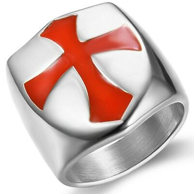 Stainless Steel Crusade Cross Medieval Shield Biker Ring Cocktail Party School