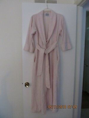 Women Robe Used Size Petite Pink 100% Cotton Machine Wash By Tuftees Made In Usa