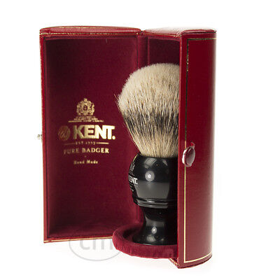 Kent Silvertip Badger Black Shaving Brush. Kingsize. Blk8. Felt lined case.