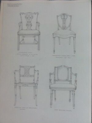 Miss. K. M. Day. - Original Pencil Drawings Of Antique Chairs - Chippendale Etc