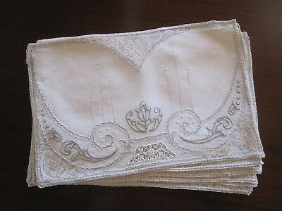 Set 8 Antique Edwardian Art Deco Nouveau Ivory Linen Mixed Lace Placemats Superb