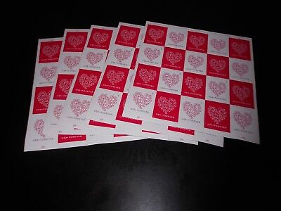 "4955-56, 5 Sheets of 20 ""Love Hearts"" C11 Forever POSTAL COUNTERFEIT Stamps(100)"