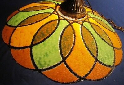 Vintage Hanging Swag Lamp AMBER and GREEN GLASS GLOBE LIGHT Beautiful!