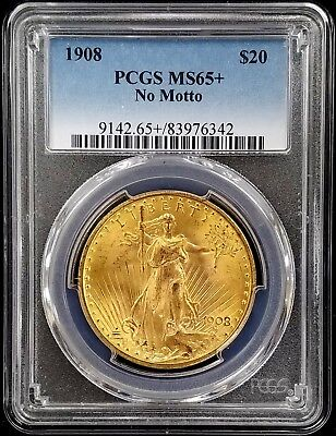 1908 St. Gaudens $20.00 Gold Piece, No Motto variety, PCGS certified MS 65 PLUS!