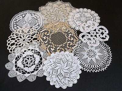 Vintage 7 Assorted Styles Of Cotton Doilies White/cream/beige
