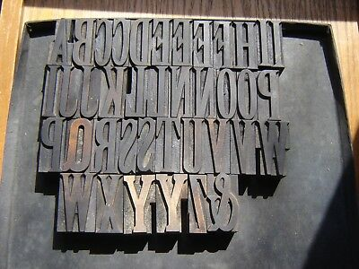"Letterpress Wood Type  ""Latin Full Face Condensed"" Caps   12 Line/2 Inch  54pcs"