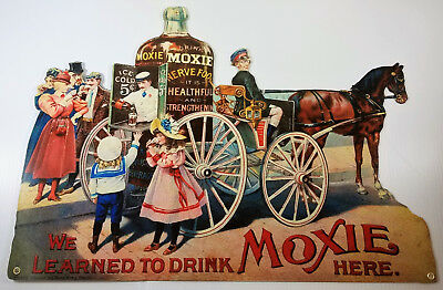 We Learned To Drink Moxie Here Horse Drawn Wagon Soda Pop Heavy Metal Adv Sign