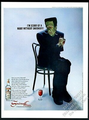 1967 Frankenstein monster bloody mary photo Smirnoff vodka vintage print ad