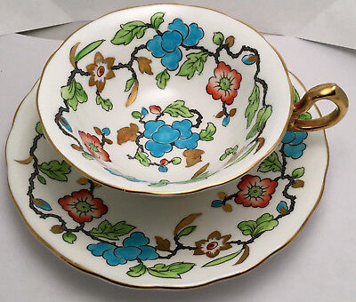 Vintage Royal Chelsea Tea Cup & Saucer Hand Painted Flowers Gold Gilt 4117A  #16