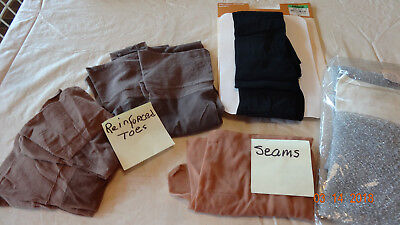 #3 7 pairs of vintage hose stockings one with seams no names no sizes not worn