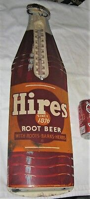 B Antique Hires Root Beer Soda Metal Usa Advertising Thermometer Bottle Cap Sign