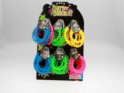 72 x Party Bracelet rubber arm band with beads 2 pack Bulk wholesale lot