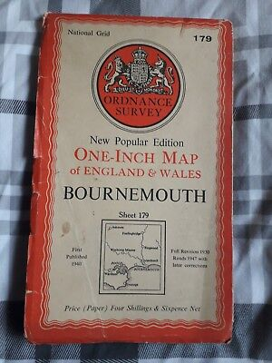 Ordnance Survey Map Bournemouth One-Inch Price Four Shillings Old Vintage