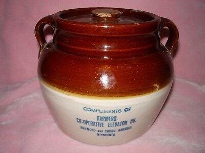 """Advertising Red Wing Stoneware Bean Pot """"Norwood & Young America Minnesota"""""""