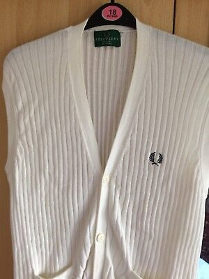 Men's vintage fred perry sleeveless Cardigan Jumper Tank Top Medium White Knit