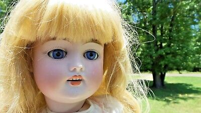 "DARLING! 20"" Antique BISQUE German KESTNER 168 DOLL Square Cut TEETH HAIRLINES"