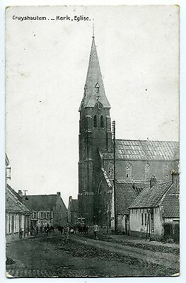 Cpa Photo Kruishoutem Cruyshautem - Kerk - Eglise- Village Animee