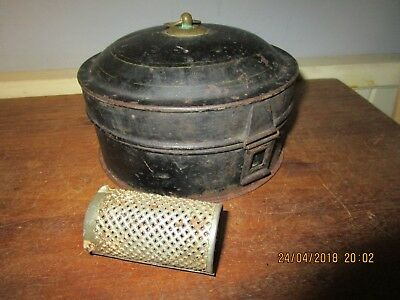Antique Georgian / Victorian Spice tin with 6 compartments and Nutmeg Grater
