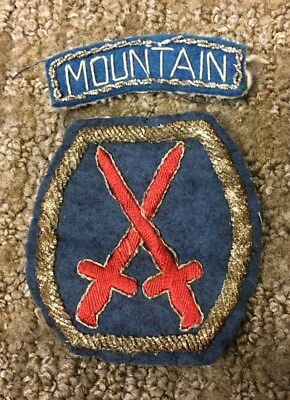 Super! WW2 Italian Theater Made 10th MountainDivision Bullion Shoulder Patch!!!