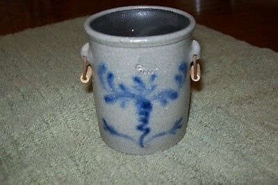 "Rowe Pottery Miniature Crock W/handles 3"" Tall The 3"" Series Bee Sting Design"